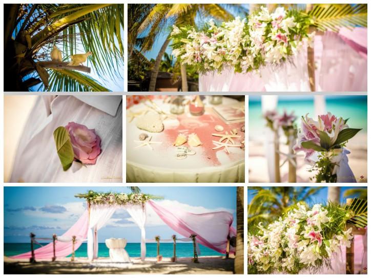 Fresh flowers on the wedding ceremony