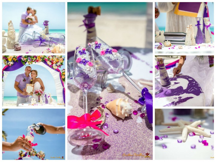 Wedding decoration in violet shades